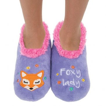Foxy Lady Snoozies Slippers Fleece Soft Sole Splitz Applique S/M/L